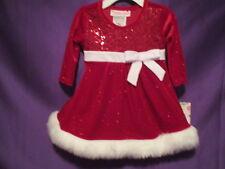 Ashley Ann 2 pc Red Dress Newborn 3-6 months Holiday Fur Glitter NWT