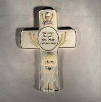 """Precious Moments-First Holy Communion-Girl-Wall Hanging Cross-Vintage-7"""""""