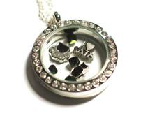 Black Cat, Cat Lovers pendant locket with charms & Swarovski beads.