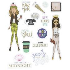 2 Sheets Trendy Girl New Year Eve  Stickers Papercraft Planner Seasonal Journal