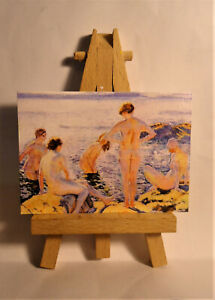 Bathers ACEO Original PAINTING a Ray Dicken a Theo van Rysselberghe