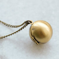 Orb Ball Locket Necklace - Vintage Style Pendant Gold Tone Long Chain Jewellery
