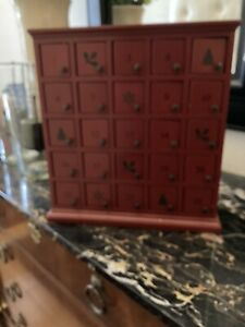Pottery Barn Red Rustic Wood Advent Calender