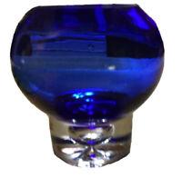 Cobalt Blue & Clear Handmade Art Glass Vase Large  Bubble Bottom Very Beautiful