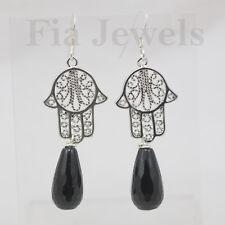 ORECCHINI mano Fatima gocce onice argento EARRINGS Fatima hand onix drops