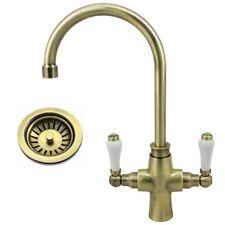 Traditional Antique Brass Lever Kitchen Tap & FREE Basket Strainer Waste Plug