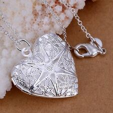 *UK* 925 SILVER PLT OPEN FILIGREE STAR LOVE HEART PHOTO LOCKET PENDANT NECKLACE