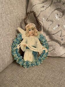 Antique Victorian Christmas German Die Cut Tinsel Tree Ornament Angel