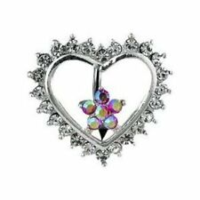 Belly Button Rings Heart Circle of Love Navel Ring CZ Heart/Flower w/ Top Down