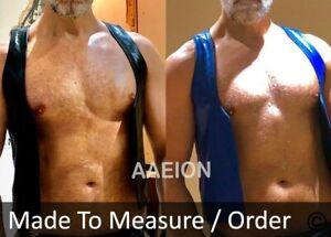 Men's Real Leather Cowhide Bar Vest Reversibel Bartender Vest D.Sided Wearable