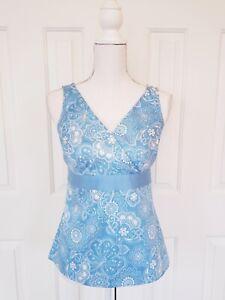 Ann Taylor Loft Petites Womens Top Shirt 4P Cotton Blue White Sleeveless Blouse