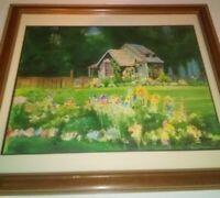 Cushing Watercolor Landscape Painting Spring Cottage Flower Garden Modern VTG