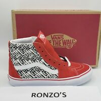 Vans Sk8 Hi Racer Red Repeat Size 7 Womens 8.5 Red Logo Off The Wall