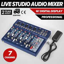 7 Channel Audio Mixer Mixing Console w/48V Phantom Power 3 Bands EQ US SHIP C8T3