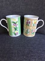 Crown Trent Fine Bone China Set Of 2 Months Of Year Floral Coffee Mugs