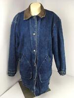 VTG 80s Woolrich Denim Leather Barn Coat Jacket Liner Indian Aztec Snap Button S