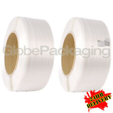 2 X 3000m White Machine POLYPROP Pallet Strapping Coils Reels 12mm *24hr Del*