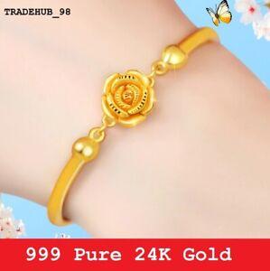999 Solid 24K Gold Beautiful Romantic Rose Flower Bracelet 16.5cm Adjustable 7g