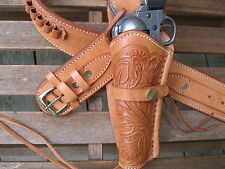 """Leather Gun Belt .38 Caliber w Left Hand Tooled Holster Natural Sizes 34"""" to 52"""""""