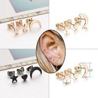 Women's 3pcs Simple Moon Star Heart Ear Stud Earrings Tiny Silver Plated Jewelry