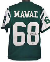"""Jets Kevin Mawae """"HOF 2019"""" Authentic Signed Green Jersey BAS Witnessed"""