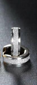 Women Men's White Titanium Steel Huggie Small Sleepers 13mm Earrings