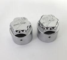 99-07-08-17 Hayabusa Chrome 3D Hex Fork Adjuster Caps For Stock/OEM Triple Tree!