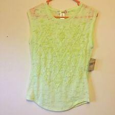 88eadaa4579 Derek Heart Sz M Juniors Lime Green Sheer Burnout Slim Fit Sleeveless Shirt  NWT