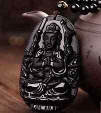 Natural Black Obsidian der geschnitzte GuanYin Buddha Glücksanhänger-Halskette