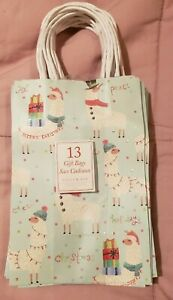 NWT Molly & Rex Punch Studio 15884 13 Count Christmas Llama Small Gift Bags Blue