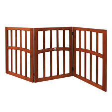 3-Panel Ceramic Paw Wood Pet Gate -Freestanding Tri Fold Fence-52.75