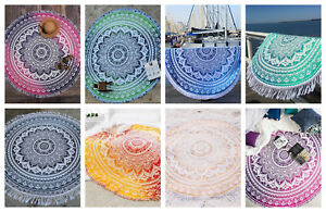 Mandala Beach Tapestry Yoga Bohemian Hippie Mat Throw Round Roundie Towel Indian