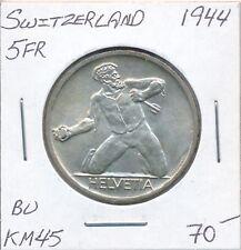 SWITZERLAND 5 FRANCS 1944 - KM45 - BU