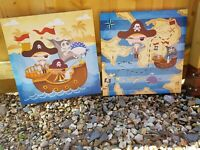 Pirates set of Two Wall / Plaques canvas pictures finish a child's bedroom