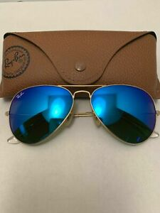 Ray-Ban Aviator Sunglasses RB3025 58-14mm 112/17 Gold Frame & Blue Mirrored Lens
