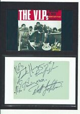 The V.I.P.S Mike Harrison + Band Signed page laid to  Card  8 x 6