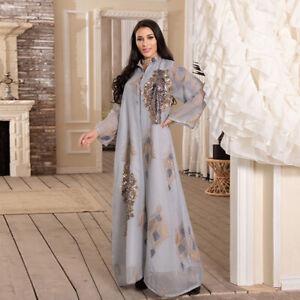 Embroidery Maxi Dress Women Abaya Dubai Sequins Kaftan Muslim Party Gown Jilbab