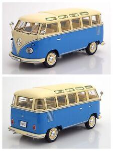 1/18 KK Scale Volkswagen Combi Samba Bus 1962 Blue/Creme Neuf Livraison Domicile