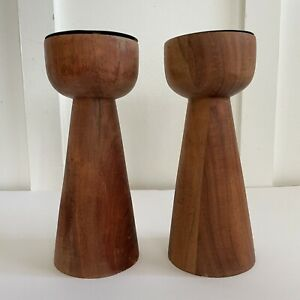 CRATE & BARREL Wood Wooden Pillar Candlestick Candle Holders