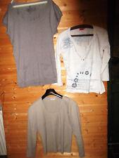 3 xDamen Oberteile-Lange Pulunder,weiße Shirt mit Pailletten beige Pulover Gr.40