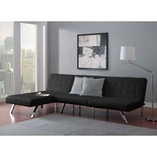 Sectional Sofa Set Convertible Sleeper Faux Couch Futon Chaise Furniture Black