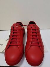 NEW FENDI MEN RED LEATHER LACE-UP ANIMOTICON FACES SNEAKERS SIZE UK 9/ US 10