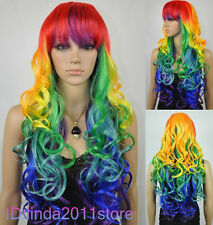 HOT Sell!!! New Cosplay Rainbow color curly wig wigs + Free wig cap NO:A25