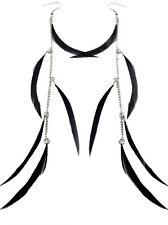 F1602 fashion long black Feather chain cute dangle chandelier earrings jewelry
