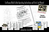 """Craftsman 6"""" Metal Lathe Operating Instructions and Parts List Manual 109.20630"""