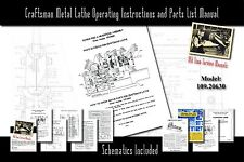 "Craftsman 6"" Metal Lathe Operating Instructions and Parts List Manual 109.20630"