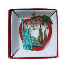 New York City Brass Ornament Color Big Apple Statue of Liberty Souvenir Gift