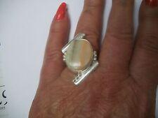 RING UNIQUE BIG Bold  925 Silver IRON JASPER RING Sz 7.5 NIB Grt Gift
