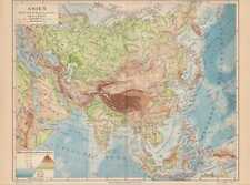 ASIEN Flüsse Gebirge physikalische LANDKARTE 1888