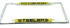 Pittsburgh Steelers  License Plate Frame  Yellow Bling Bright Laser Cut Chrome